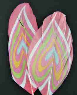 """Printed Feathers """"Swirl Hearts"""" Design"""