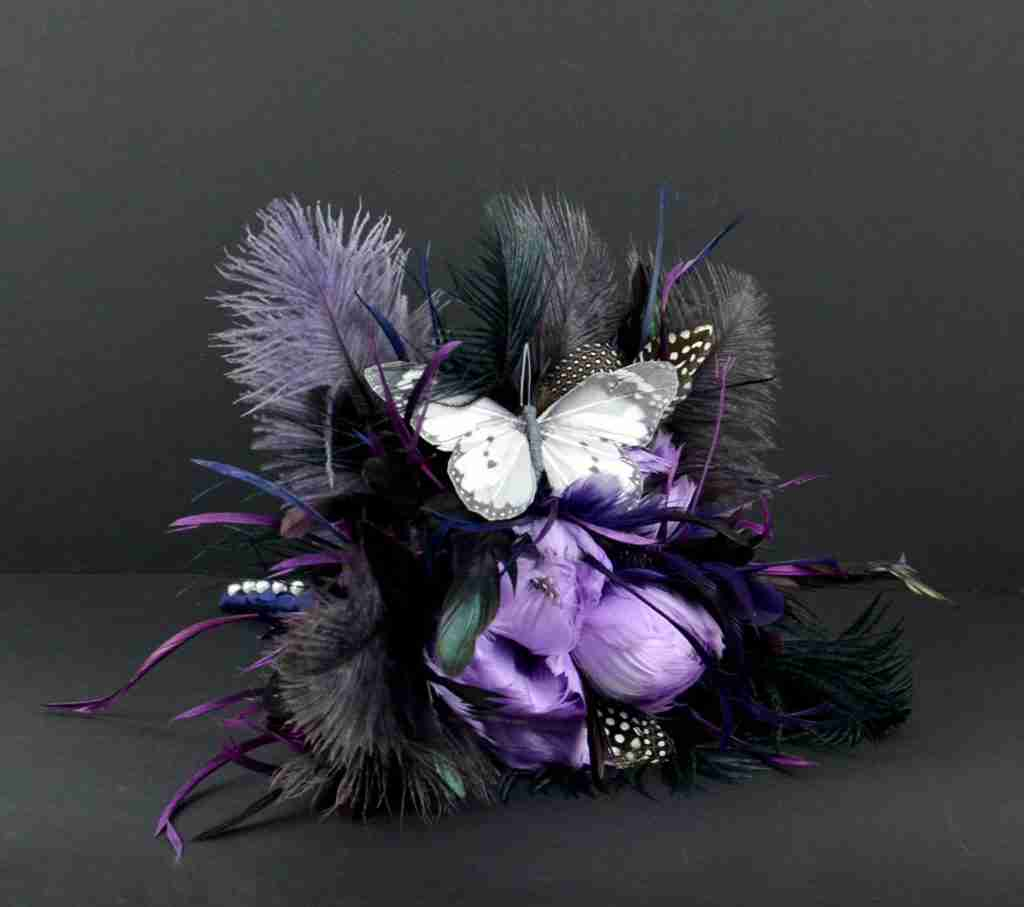 wedding bouquet black purple blk bkgd